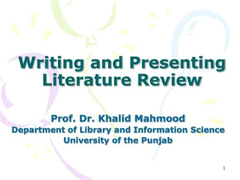 PPT - Writing and Presenting Literature Review PowerPoint