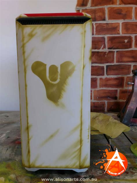 airbrushed pc case - destiny, painted theme by alison arts