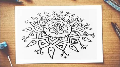 How to draw rangoli designs step by step on paper